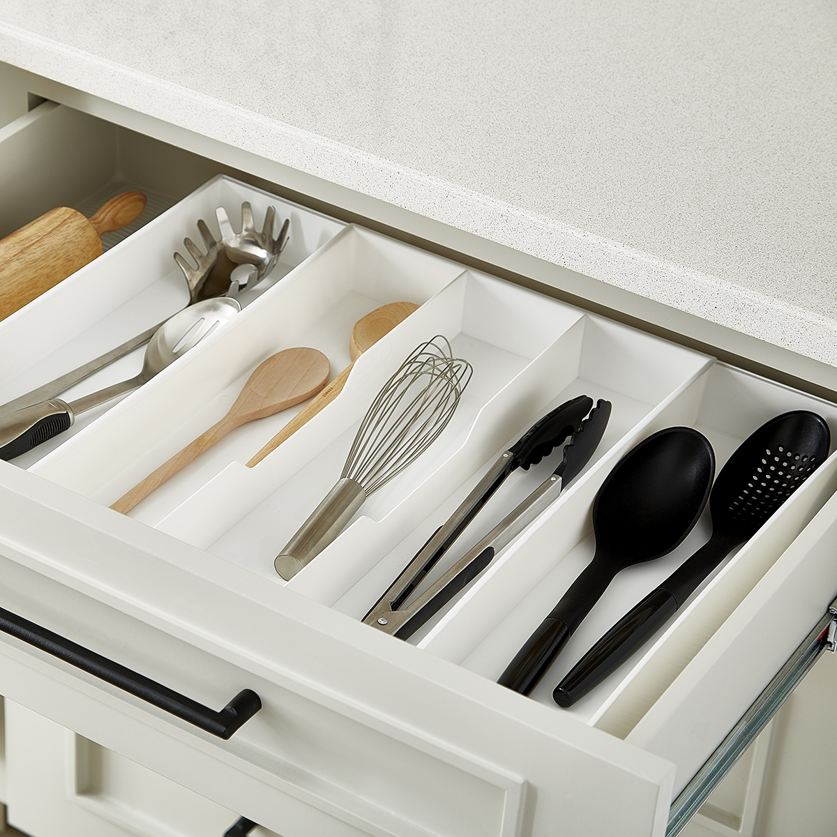 kitchen drawer stripping cabinets expand a utensil trays the container store