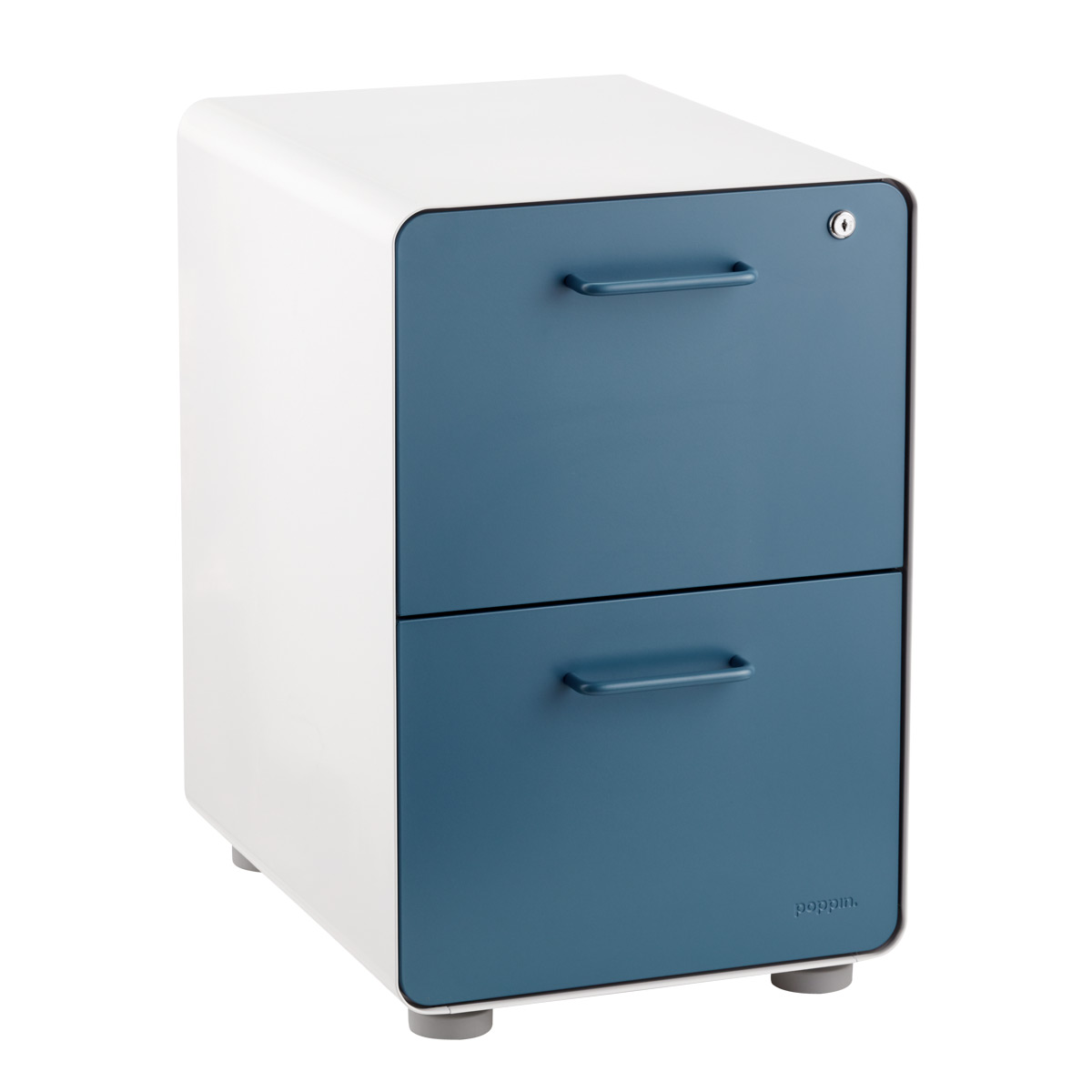 Poppin Slate Blue 2 Drawer Stow Locking Filing Cabinet The Container Store