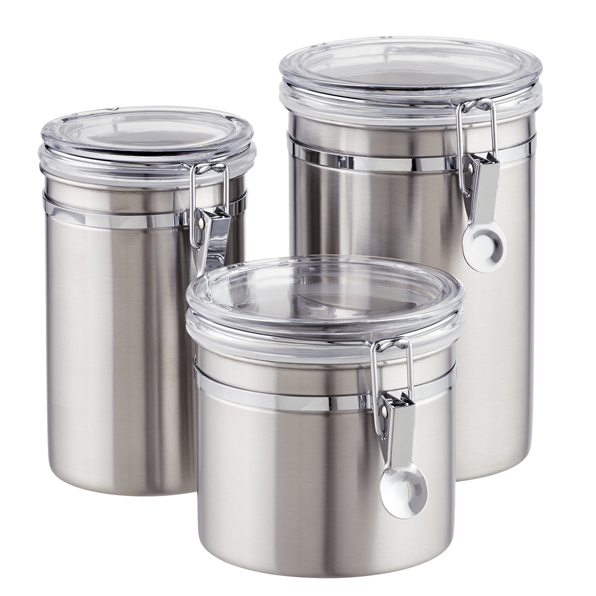 canisters kitchen aid fridge stainless steel brushed the container store