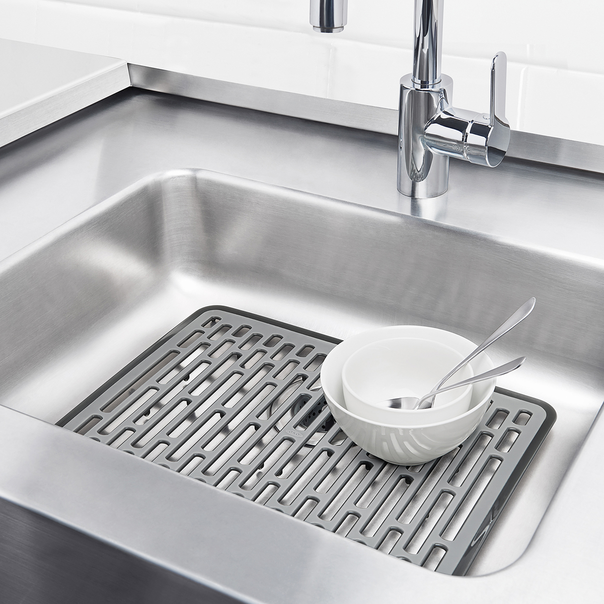 large sink kitchen industrial backsplash good grips mat the container store