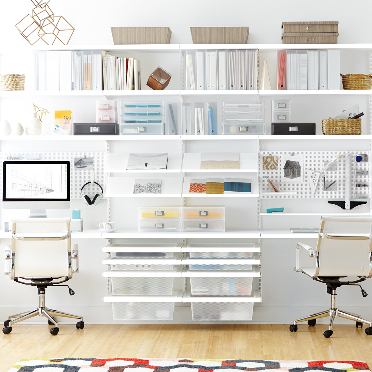 White Elfa Decor Office The Container Store