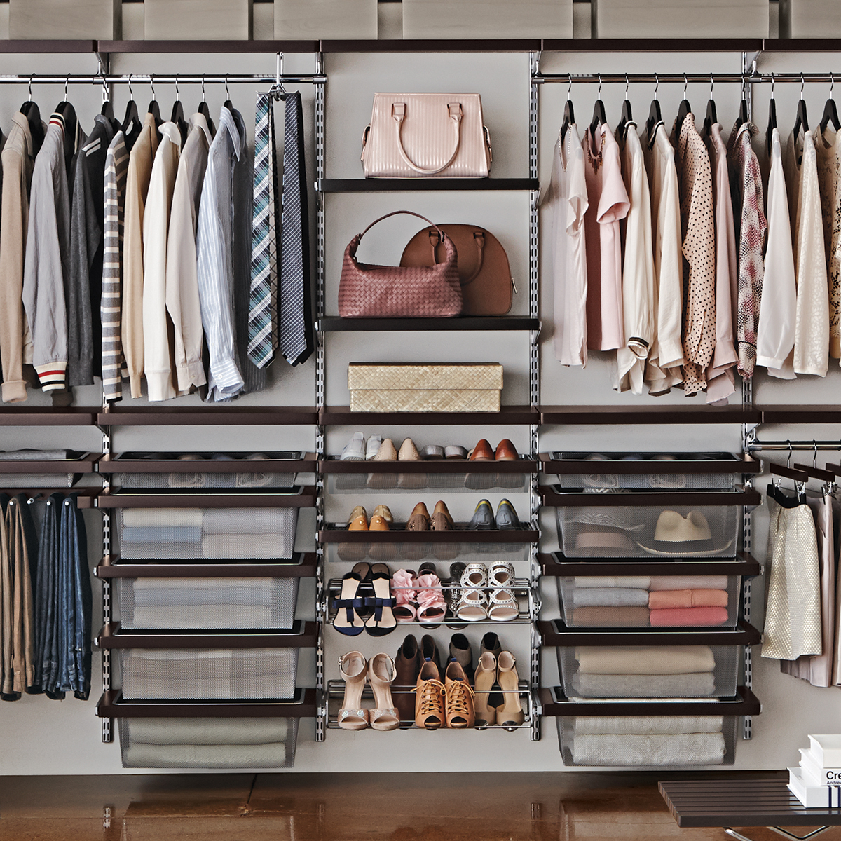 Elfa Decor 10 Walnut Platinum His Hers Closet Wall