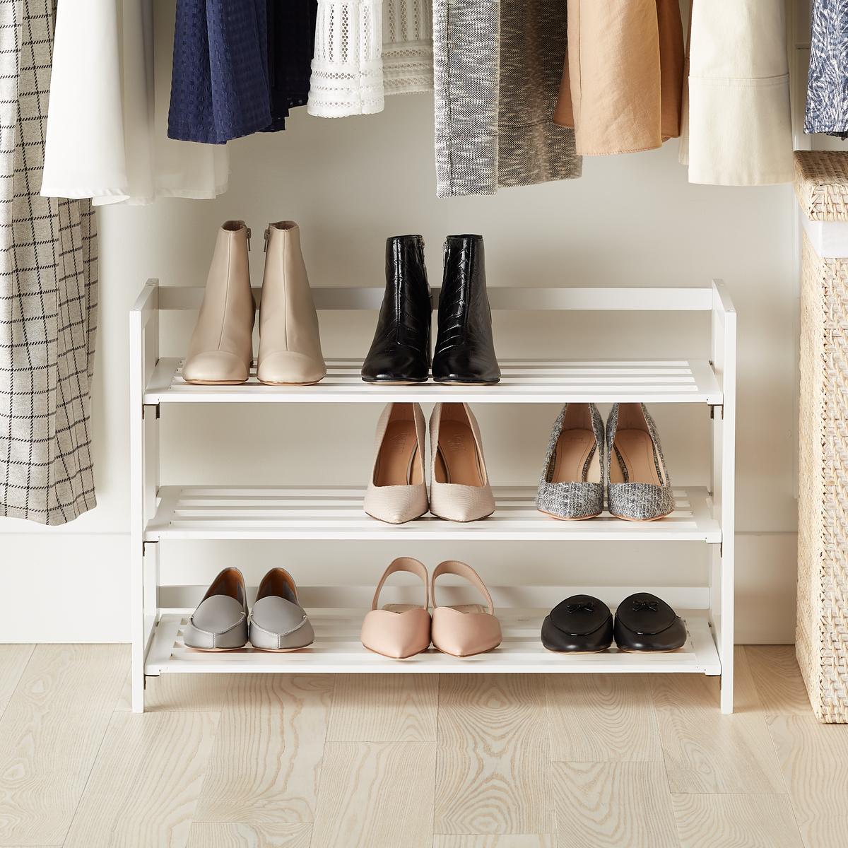 3 tier white folding shoe rack