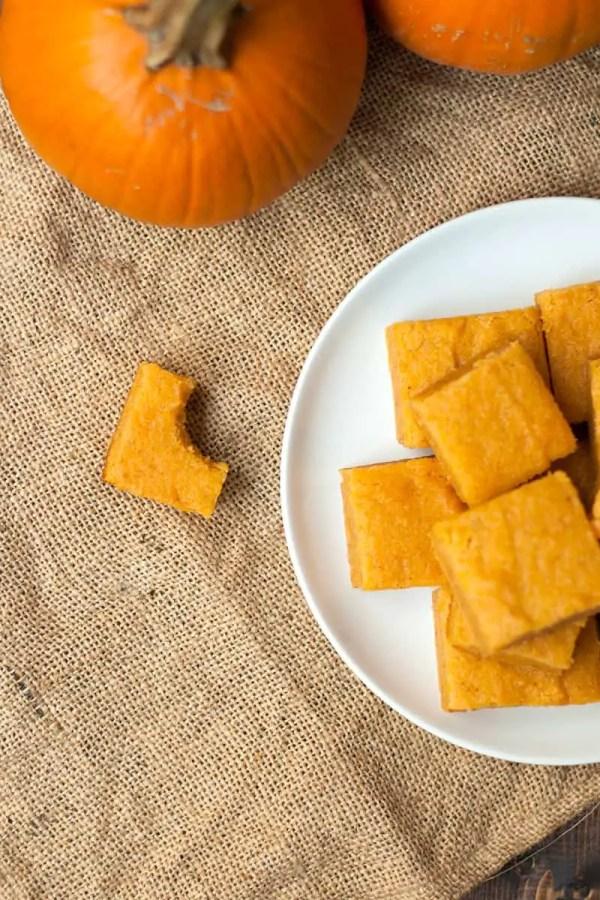 Pumpkin Mochi- A Hawaiian mochi dessert flavored like a pumpkin pie, but with a dense, chewy bite!
