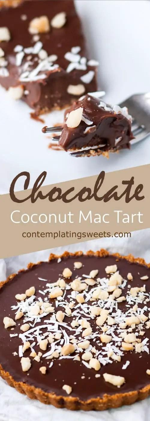 Chocolate ganache tart with macadamia and coconut