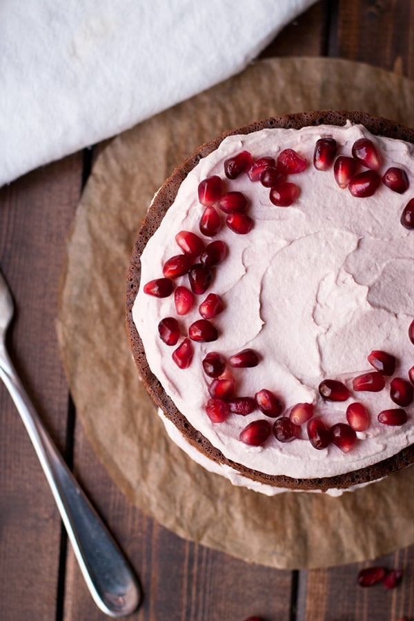Stovetop Chocolate Cake with Pomegranate Cream