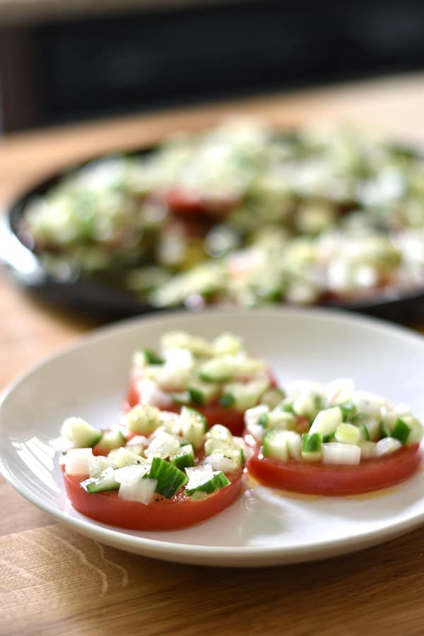 Sliced Tomato Salad with Cucumber Onion Marinade