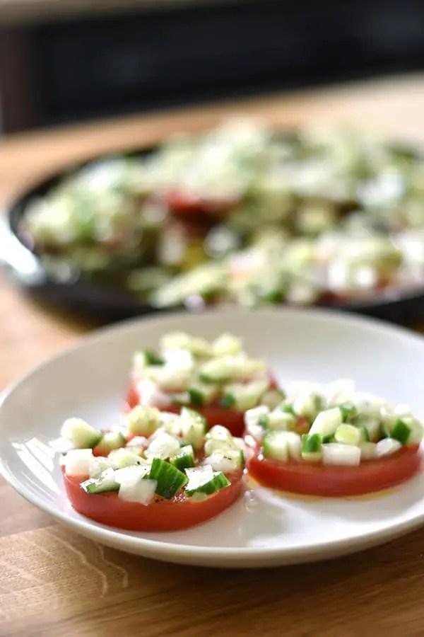 Sliced Tomato Salad with Cucumber Onion Marinade