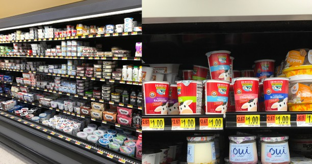 Grocery aisle where you can buy Horizon brand organic yogurt.