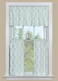 Aqua Kitchen Curtains & Valance