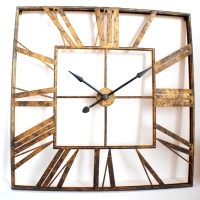 Large Vintage Roman Gold Square Wall Clock UK