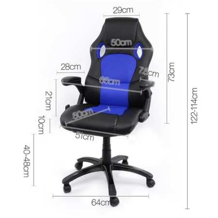 8 Massage Point Office Chair Blue Black
