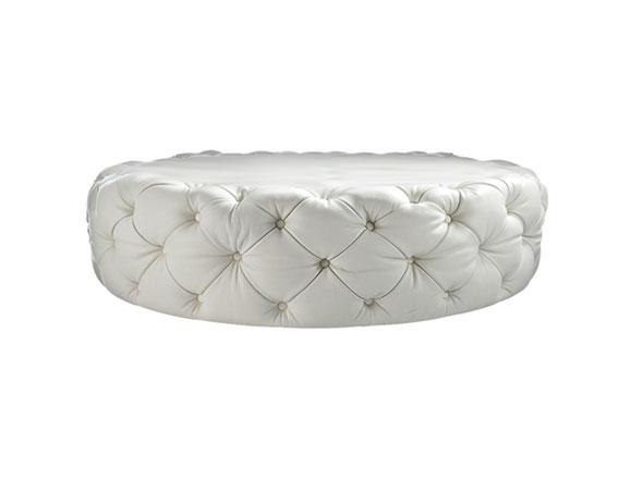 contemporary round diamond glass button white leather ottoman