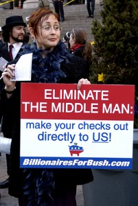 Billionaires for Bush. Photo by Fred Askew.