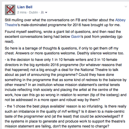 Lian Bell's follow-up Facebook post