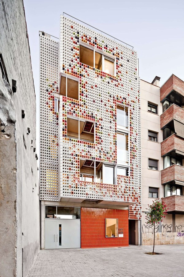 Facade Of Colorful Ceramic Blocks Cover Apartment