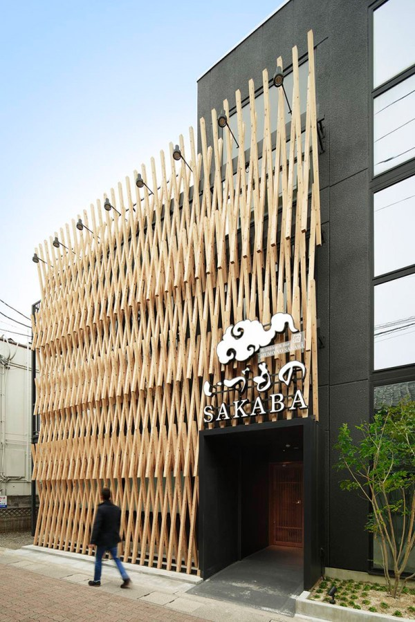 Facade Of Wood Latticework Covers Japanese