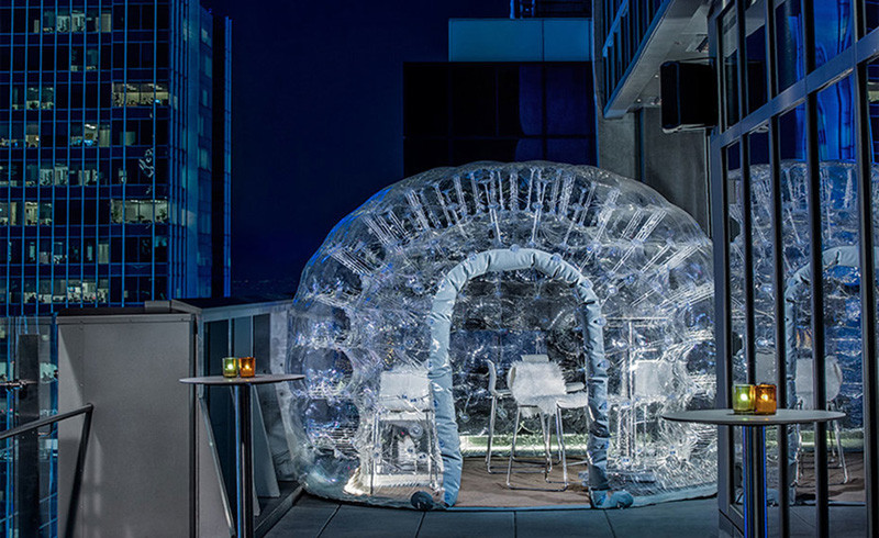 You can have a cocktail inside this bubble at the Bar 54, the highest rooftop hotel bar in New York City
