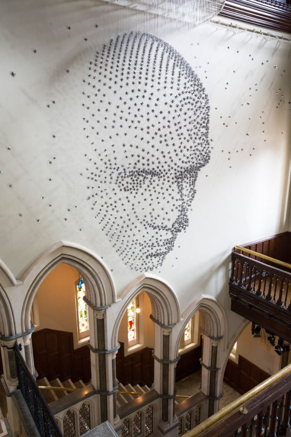 Artist Created 3d Human Face 2000 Suspended Metal Stars Contemporist