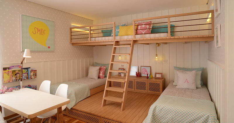 This Cute Girls Bedroom Was Designed With A Lofted