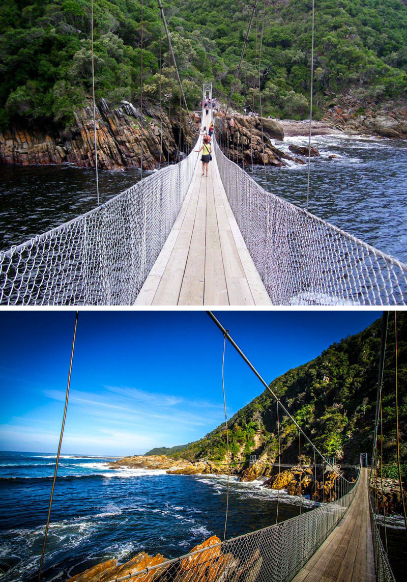 10 Of The Most AMAZING Suspension Bridges In The World // Storms River suspension bridge in South Africa, keeps you only 7 meters above the turbulent waters that flows into the Indian Ocean.