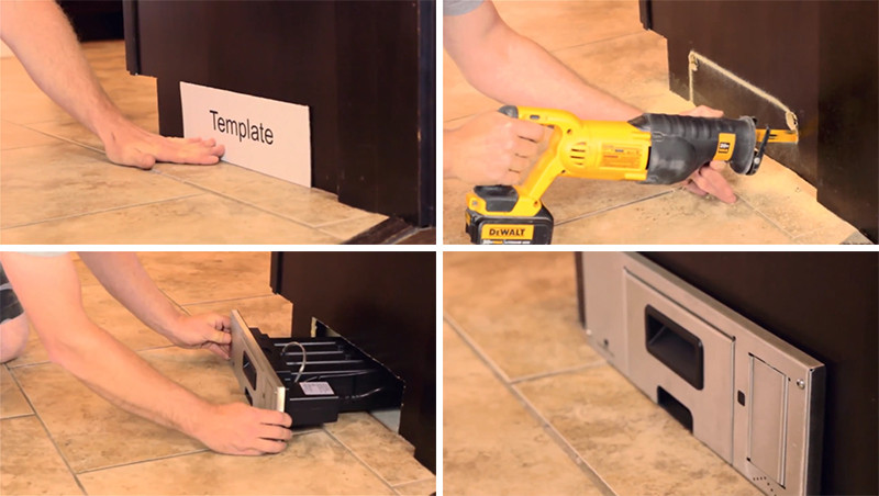 This inwall vacuum eliminates the need for a dustpan