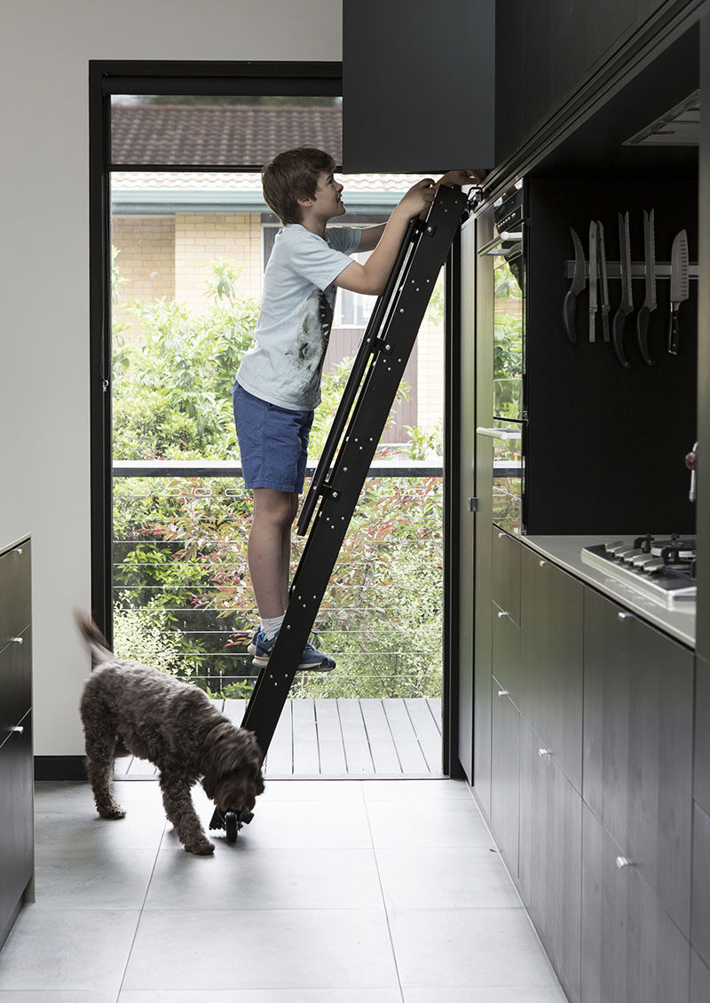 kitchen ladder memory foam mat this has a rolling to reach the upper cabinets matte black