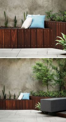 Ideas Including Built-in Wood Planters In