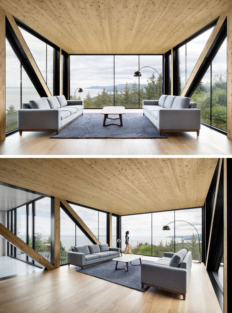 The Living Room In This Home Is Inside A Box That Hangs