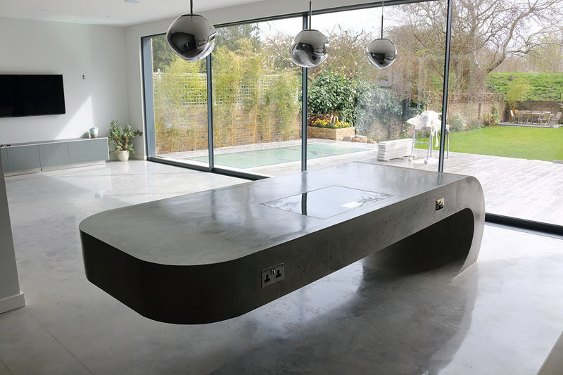 This Concrete Kitchen Island Ignores Gravity