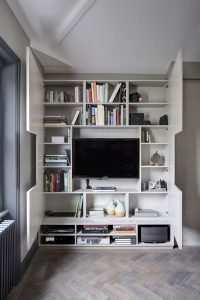 TV Wall Design Idea - Hide Shelves With Large Custom-Made ...