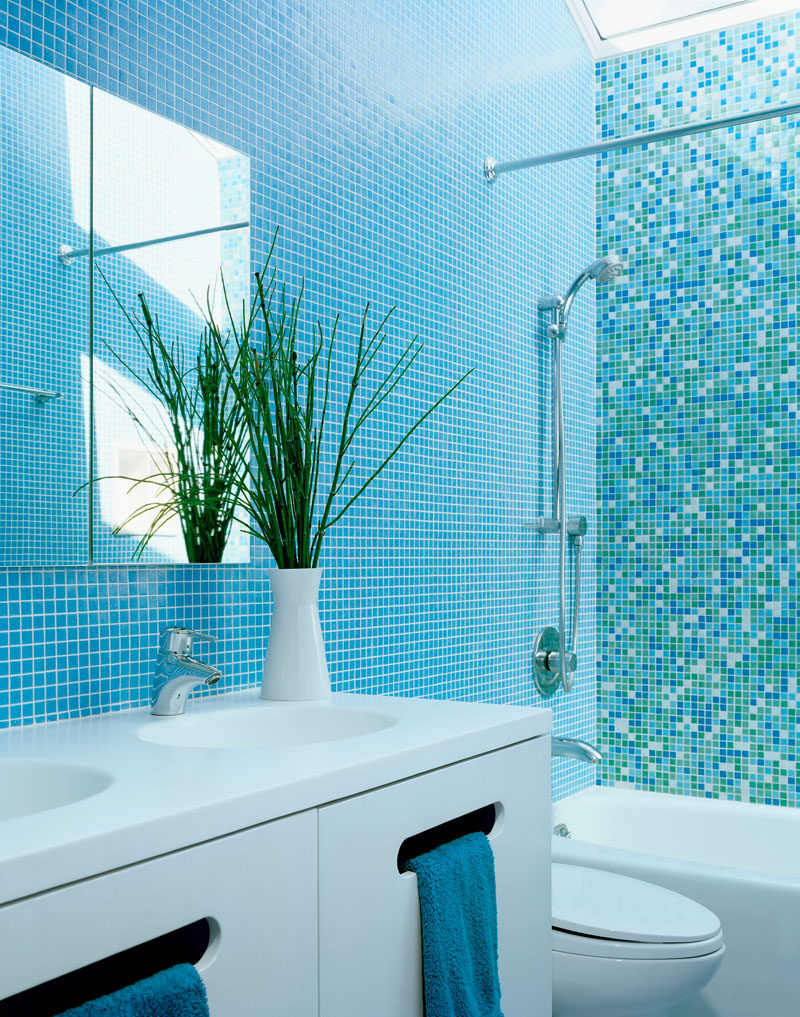 blue and white bathrooms