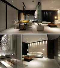 Room Divider Idea - This glass wall supports a TV, an art ...