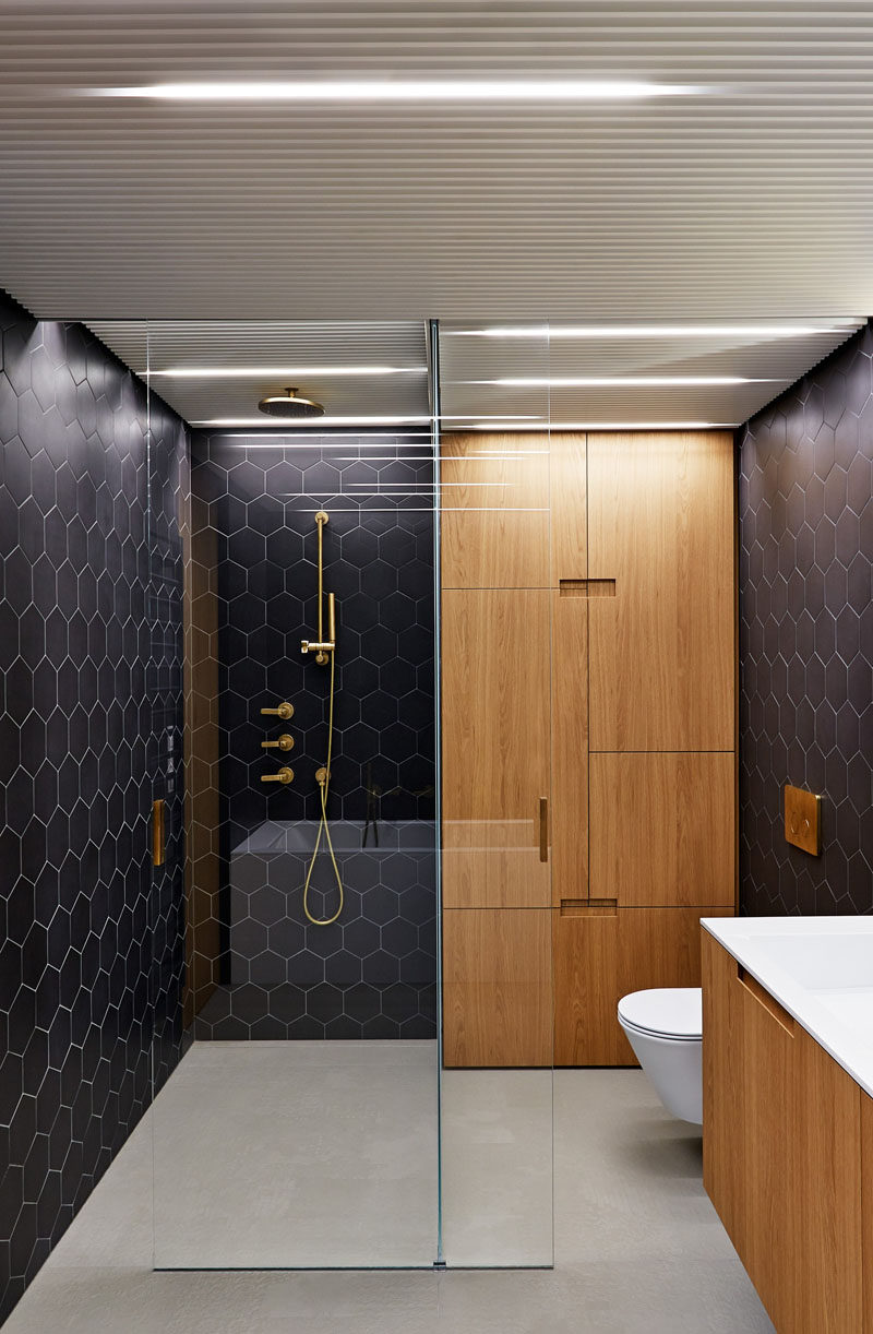Bathroom Design Idea  Black Brass White and Wood