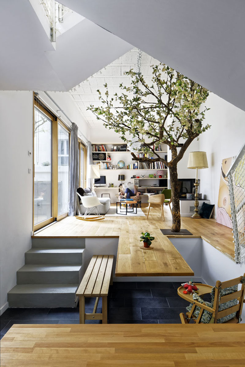 living room interior design ideas with dining table open plan kitchen decor the floor of this becomes contemporist extends and a cantilevered