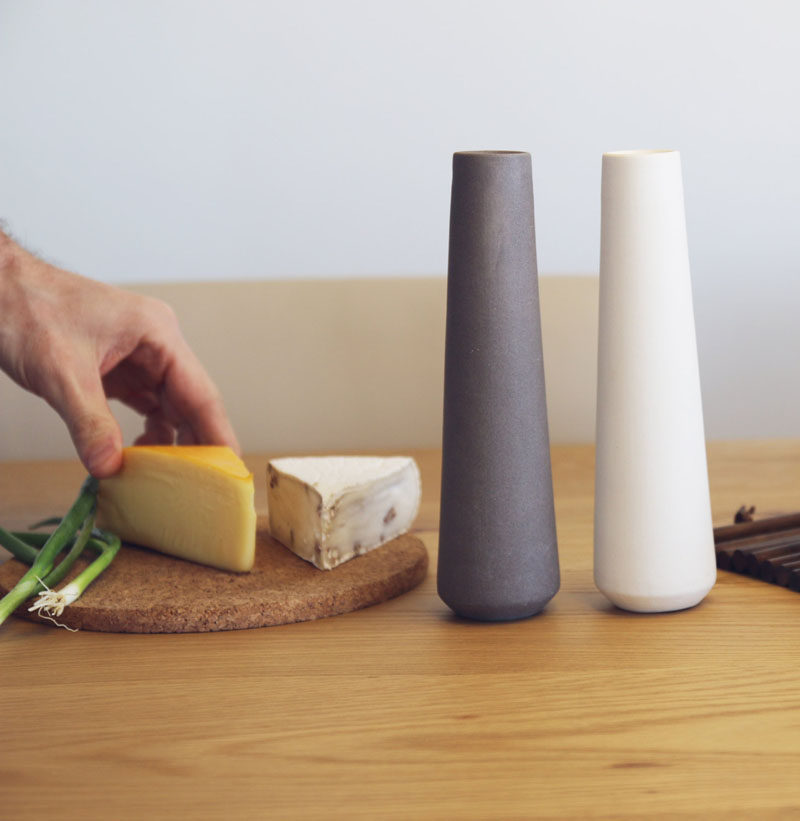 Gift Ideas For People Who Love To Cook // Flavor food in style with these modern and minimal salt and pepper shakers.