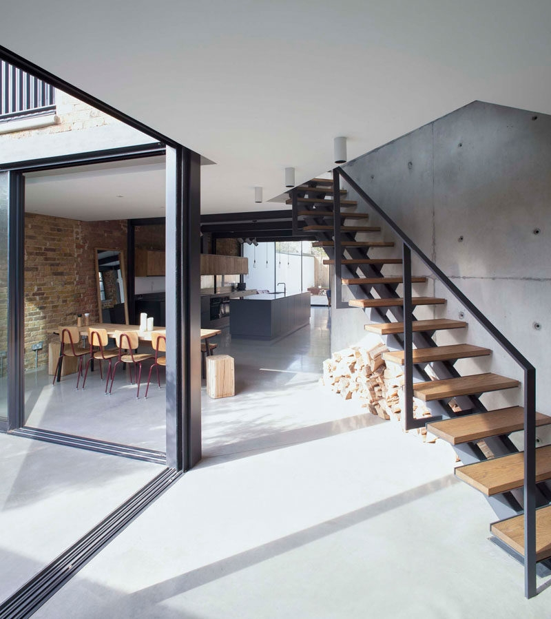 Stairs Design Idea Combine Wood And Metal For A Warm Industrial Look | Steel Stairs With Wood Treads | Wooden Stair | Glass | Exterior | Pine Wood Tread | Typical