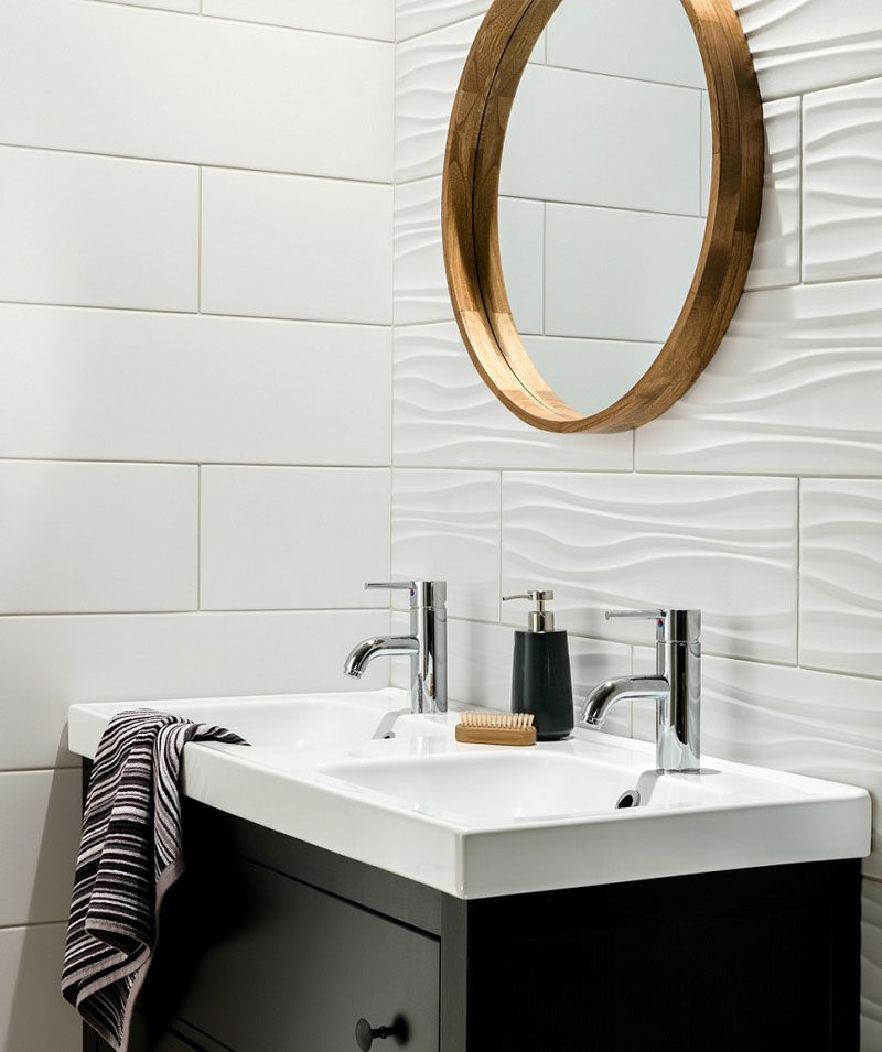 bathroom tile idea - install 3d tiles to add texture to your