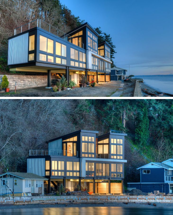 14 Examples Of Modern Beach Houses // This family beach house in Washington  State sits