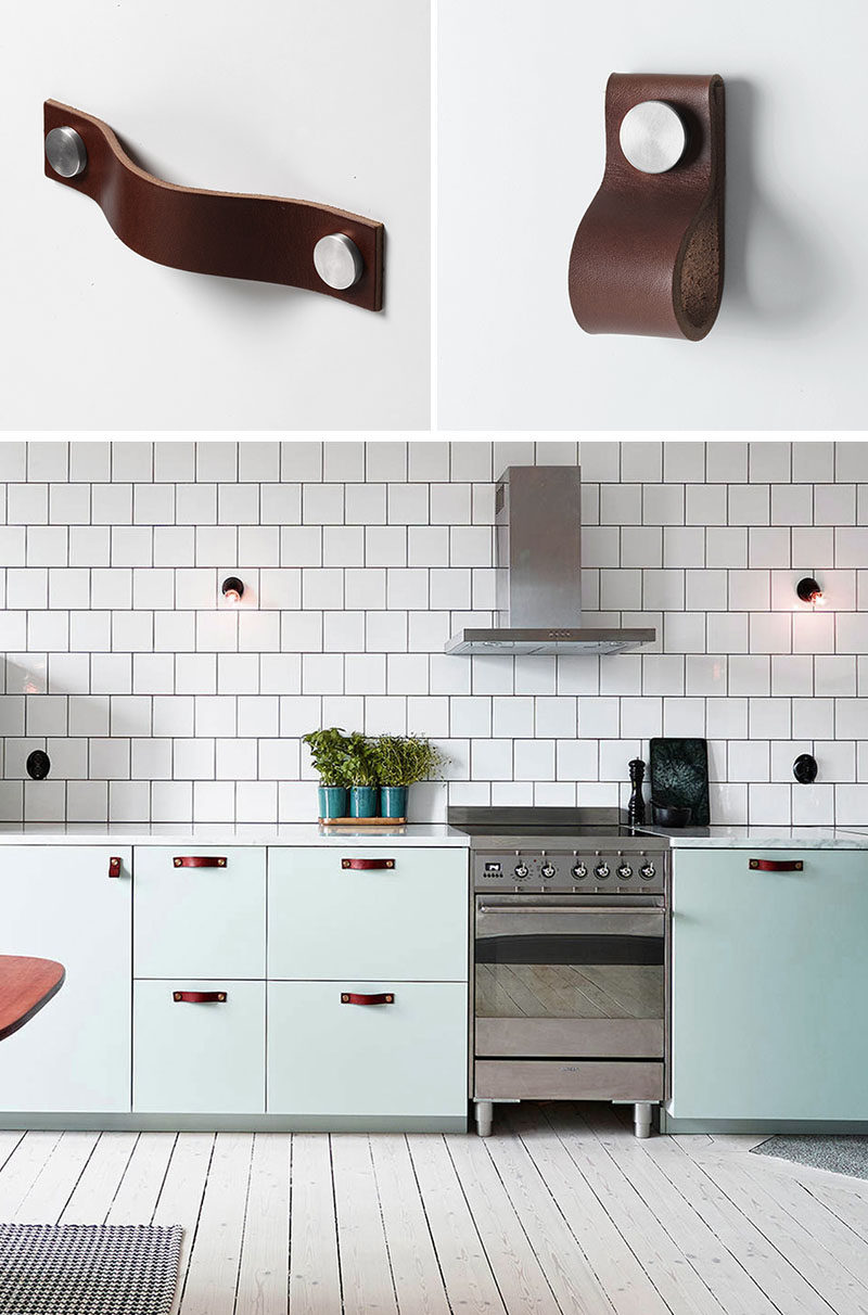 kitchen handles gray island 8 cabinet hardware ideas for your home contemporist leather and pulls