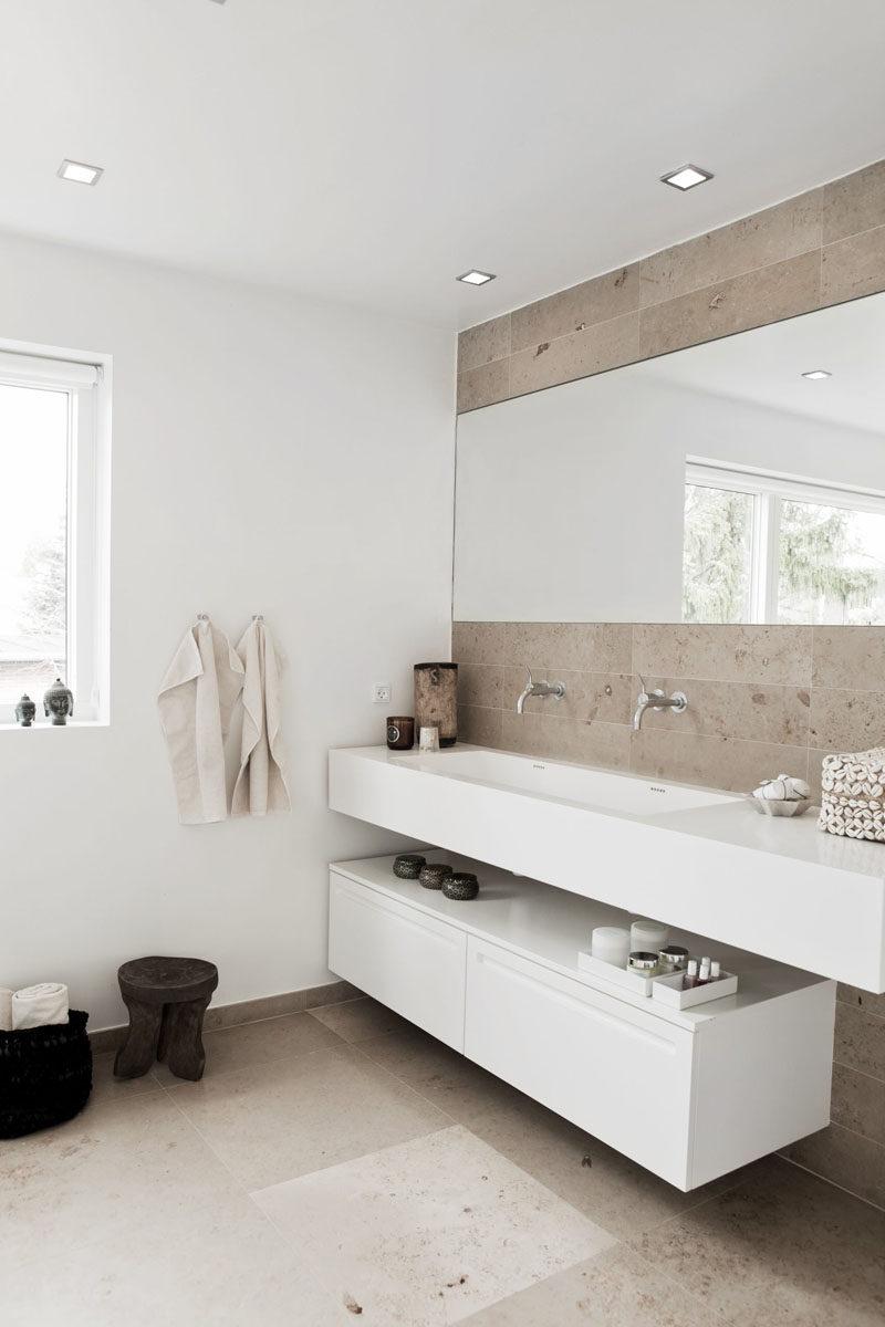 Bathroom Design Idea  An Open Shelf Below The Countertop