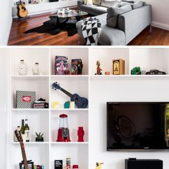 Wall Shelf Design For Living Room Discount Furniture 8 Tv Ideas Your Contemporist Square Shelves Surround The