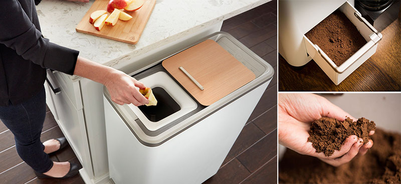 kitchen composter turquoise cabinets this easy indoor compost system turns food scraps into fertilizer in 24 hours contemporist