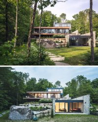 Wood And Stone Cover The Exterior Of This Multi-Level ...