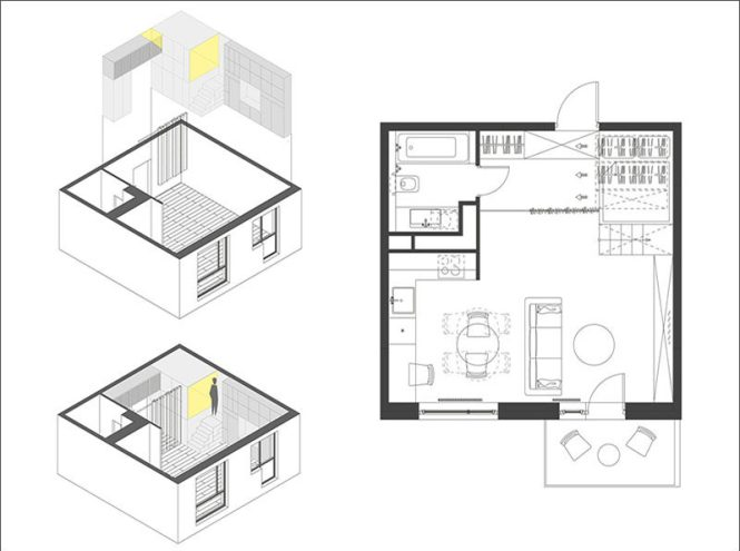 Small Apartment Design Idea Raised Bedroom Allows For Storage Underneath