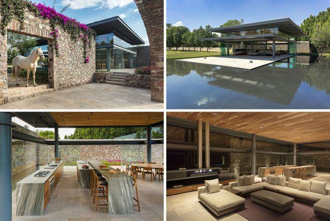Grupoarquitectura have designed the Hacienda El Barreno Visitors Pavilion that sits among the old stone walls of a hacienda (estate) in San Juan del Rio, Mexico.