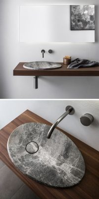The design of this natural stone sink is inspired by the ...
