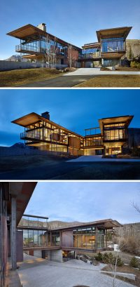 This modern mountain house is filled with industrial ...