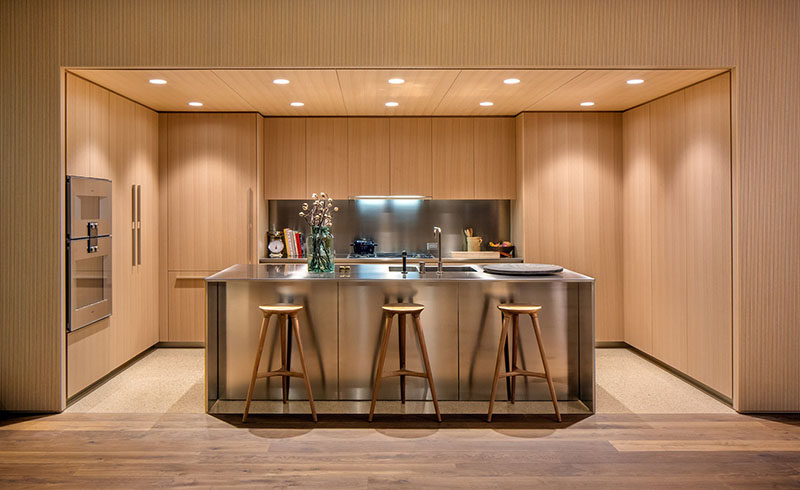 Oak Cabinets And SatinFinish Stainless Steel Make Up This