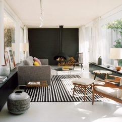 Fireplace For Living Room Argos Furniture Sets A Hanging And Black Accent Wall Stand Out In This Modern